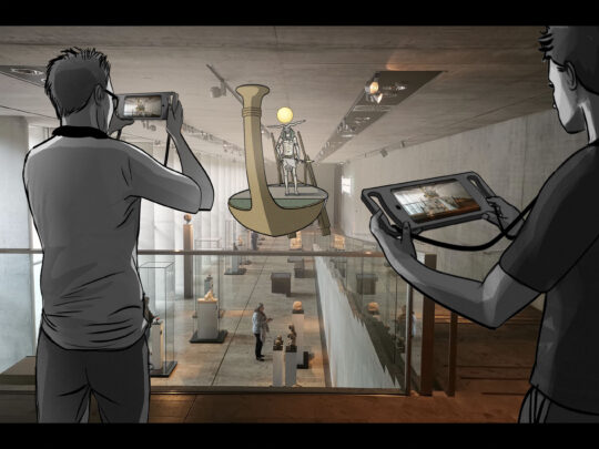 Zeichnung zweier Personen, die Tablets in den Händen halten und das Augmented Reality Spiel spielen