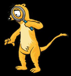 Das Maskottchen Usi mit einer großen Lupe.