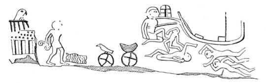 Felszeichnung des Königs Djer aus Gebel Scheich Suliman