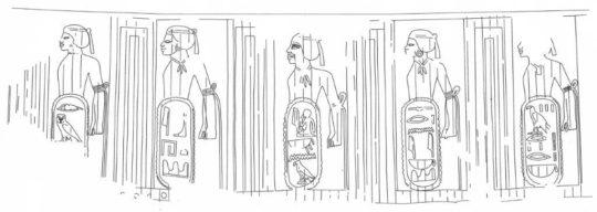 Städteringe mit gefangenen Nubiern aus dem Tempel von Soleb