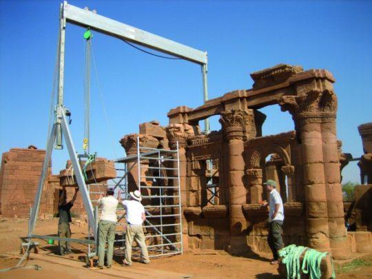 Restoration work on the Chapel of Hathor