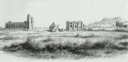Naga 1844: Lion Temple and Roman Kiosk viewed from the south, drawn by the Prussian Expedition led by Richard Lepsius