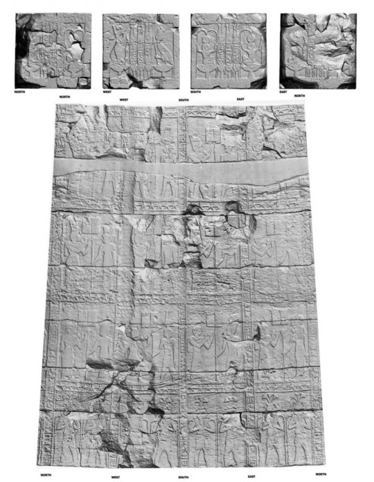 Rendered 3D model and measurements of column e of the Temple of Amun