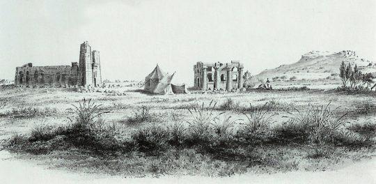 Zeichnung des Löwentempels 1844