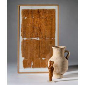 Liebeszauber: Gefäß, Wachsfiguren,  Papyrus (koptisch)