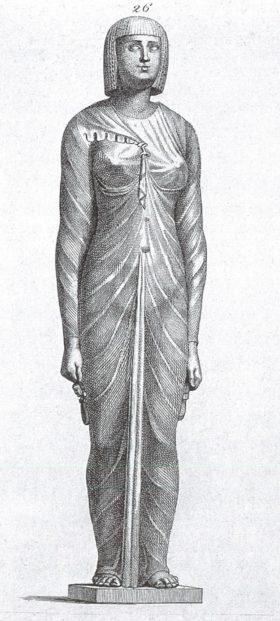 Barocke Zeichnung einer altägyptischen Statue