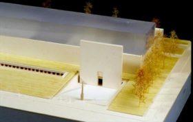 Architekturmodell des Neubaus, Vorderseite