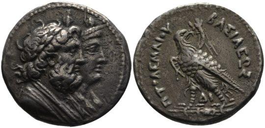 Münze mit Isis und Serapis