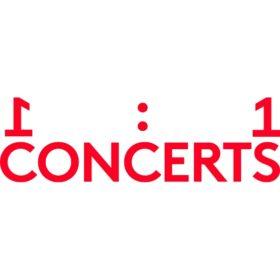 Logo der 1to1 Concerts, rote Schrift auf weißem Grund