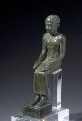 Bronzene Sitzfigur des Imhotep