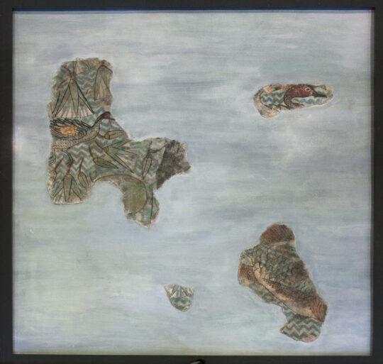Fragmente eines königlichen Palastfußbodens mit Maelrei von Fischen und Enten